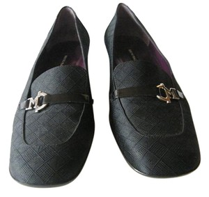 Bruno Magli Patent Leather Cloth Over Leather Logo Black Flats