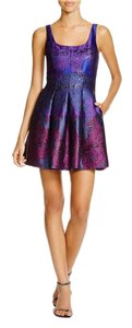 Cynthia Rowley Jacquard Jeweltone Formal Cocktail Floral Dress