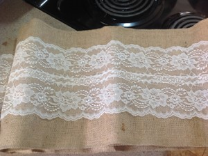 Burlap And Ivory Lace Table Runners