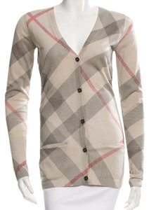 Burberry Nova Check Plaid Monogram Exploded Check Longsleeve Cardigan