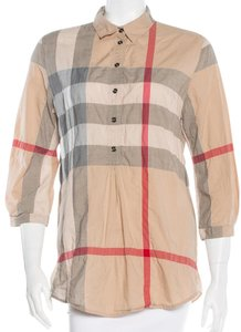 Burberry Nova Check Plaid Monogram Top Beige, Grey, Red