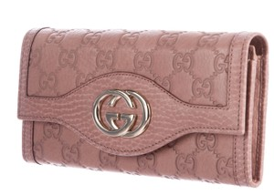 Gucci Mauve leather Guccissima monogram Gucci Continental wallet