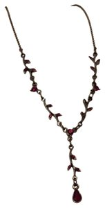 1928 Floral Black Metal Red Crystal 1928 Brand Necklace