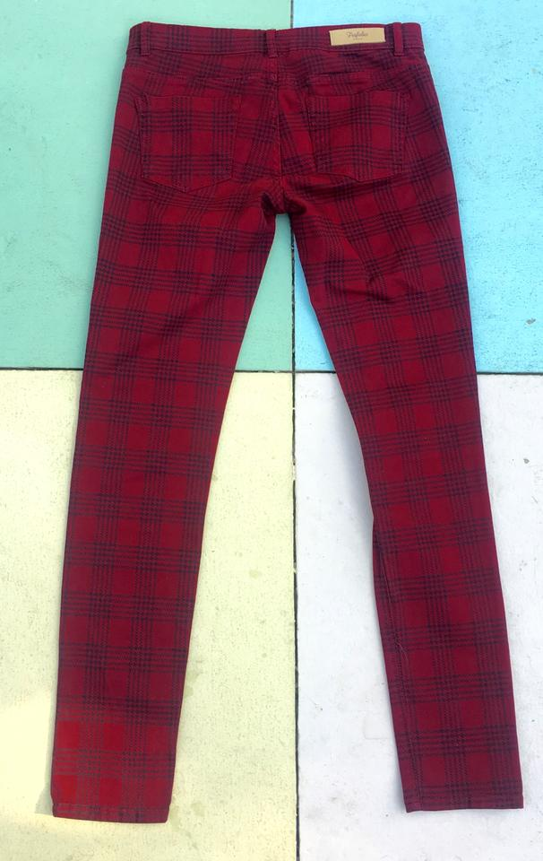 a4a141180228 Zara Red Burgundy Checked Plaid Trousers Us Pants Size 6 (S