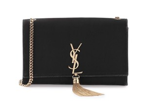 Saint Laurent Velvet Gold Hardware Chain Satchel in Black