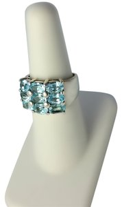 Other Thick Sterling Silver and Blue Topaz Ring Size 6.75