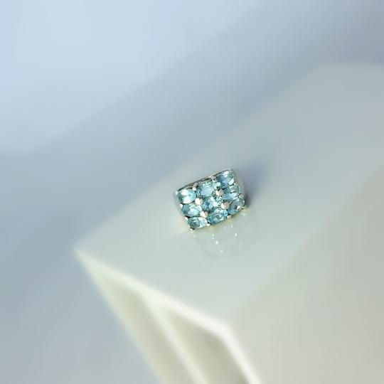 Other Thick Sterling Silver and Blue Topaz Ring Size 6.75 Image 1