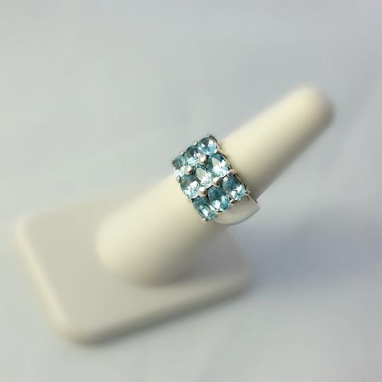 Other Thick Sterling Silver and Blue Topaz Ring Size 6.75 Image 4