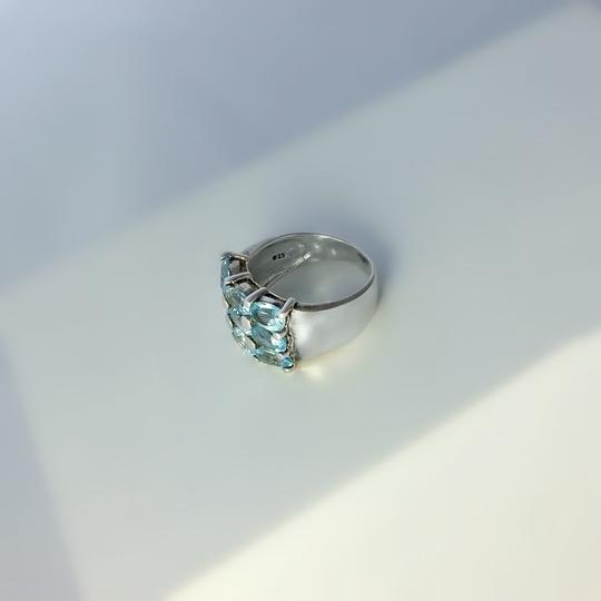 Other Thick Sterling Silver and Blue Topaz Ring Size 6.75 Image 5