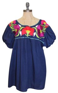 MEXICAN Embroidered Top BLUE