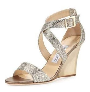 Jimmy Choo Italy Designer Couture Glitter Wedges