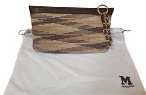 M Missoni M Medium Fabric And Leather Gold And Brown Chain Strap Made In Italy Brown/gold Clutch
