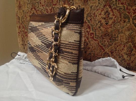 M Missoni Medium Fabric And Leather And Chain Strap Made In Italy Brown/gold Clutch