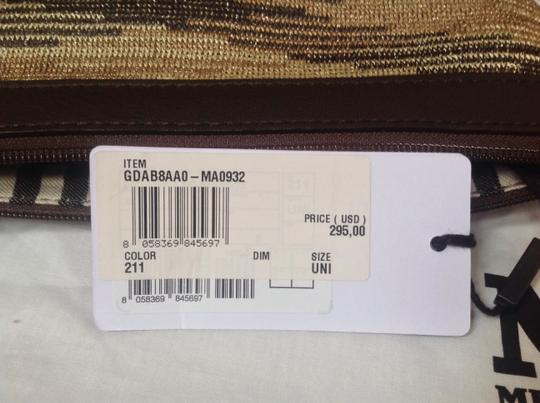 M Missoni Medium Fabric And Leather Chain Strap Made In Italy Brown/gold Clutch
