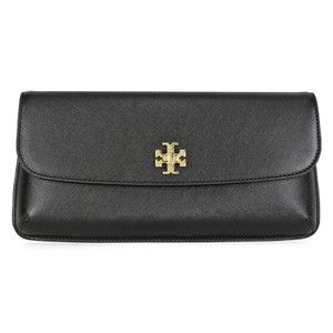 Tory Burch Saffiano Leather Turnlock Logo Scratch-resistant Party black Clutch