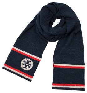 Tory Burch Two Tone Jacquard Scarf in Normandy Blue