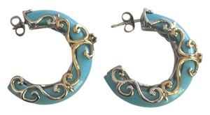 Other Stunning- Sterling Silver Gold Plated Sapphire Turquoise Half Hoop Earring