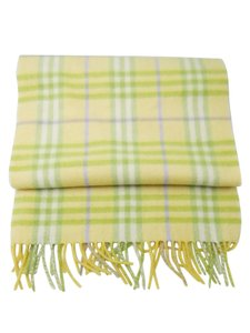 Burberry London Burberry Yellow with Green Purple Plaid Cahsmere Scarf