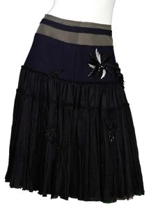 Prada Wool Silk Beading Skirt black/navy