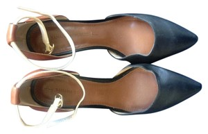 J.Crew Leather Ankle Strap Black and Brown Pumps