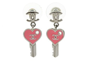 Chanel Silver CC Pink Enamel Dangle Heart Key Earrings