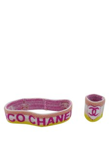 Chanel Chanel Pink/Yellow/White/Peach Striped Sweatband and Wristband Set