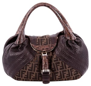 Fendi Tortoise Canvas Leather Hobo Bag