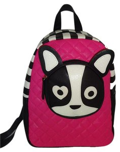 Betsey Johnson Pug Striped Sides Backpack