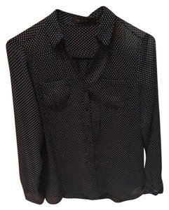 The Limited Button Down Shirt Black white polka