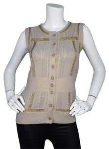 Chanel Vest Hardware Sleeveless Top Taupe & Gold
