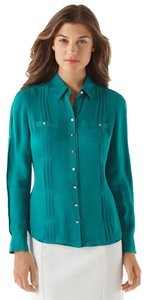 White House | Black Market Silk Pleated Chiffon Formal Button Down Shirt Teal