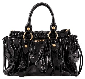 Miu Miu Patent Satchel in Black