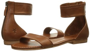 Frye Leather Strappy Flat Whiskey Sandals