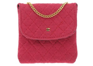 Chanel Vintage Red Quilted Jersey Mini Bag Necklace