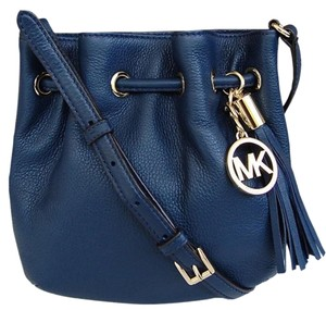 Michael Kors Drawstring Leather Tote in Navy