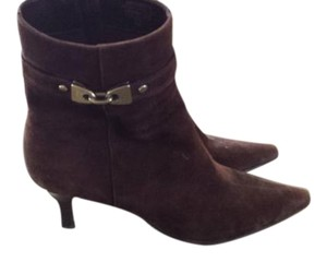 AK Anne Klein Buckle Pointed Toe Brown Boots