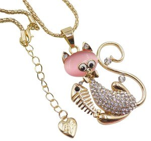 Betsey Johnson New Betsey Johnson Cat Fish Bones Necklace Pink Gold J3029
