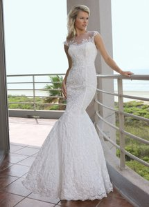 DaVinci Bridal Ivory Lace 50241 Formal Wedding Dress Size 12 (L)
