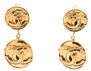 Chanel #9343 CC drop Gold XL Hammered large clip earrings