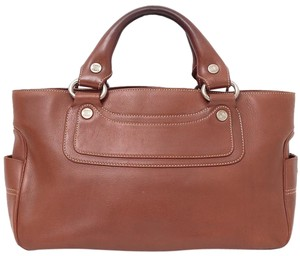 Céline Leather Boogie Tote in Brown
