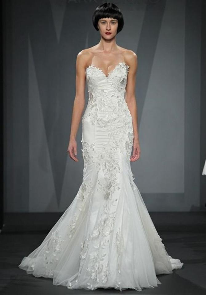 Mark Zunino Ivory Silk Organza with Hand Embroidered Lace Overlay ...