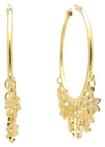 18KT Gold Filled Hoop Earrings W/ Star Floral Dangling Charms