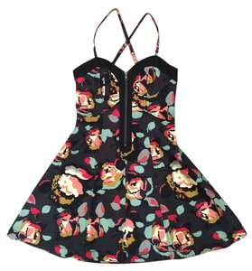 French Connection short dress Black, floral on Tradesy