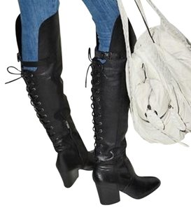 Sam Edelman Over The Knee Leather Lace Up Black Boots