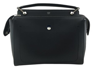 Fendi Dotcom Leather Medium Satchel in Black