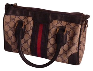 Gucci Speedy/boston Early Mint Vintage Perfect For Everyday Removable Strap Satchel in shades of blue in large G logo coated canvas and navy leather with a wide red/blue stripei