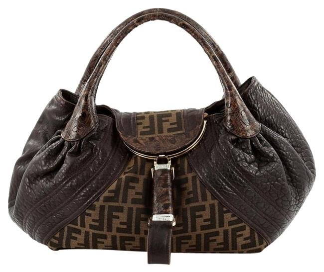 Item - Tortoise Spy Zucca and Leather Brown Canvas Satchel