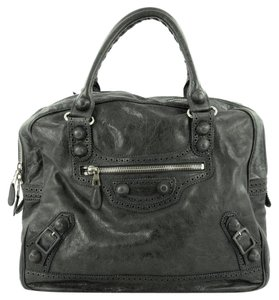 Balenciaga Leather Satchel in Dark Green