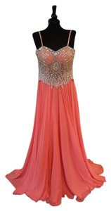 May Queen Prom Beaded Straps Chiffon Dress