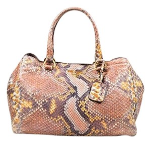 Prada Leather Python Printed Ghw Double Strap Lux Tote in Multi-Color